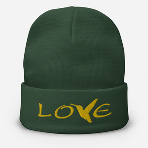 LOVE (Gold Thread) ~ Embroidered Beanie