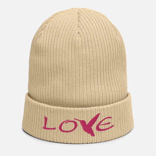 LOVE (Pink Thread) ~ Organic Cotton Beanie