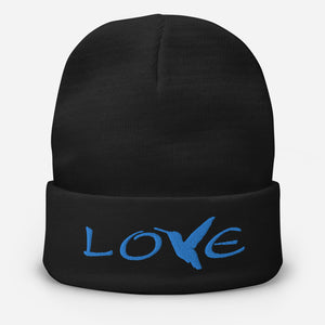 LOVE (Blue Thread) ~ Embroidered Beanie