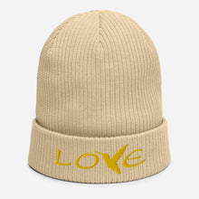 Load image into Gallery viewer, LOVE (Gold Thread) ~ Organic Cotton Beanie