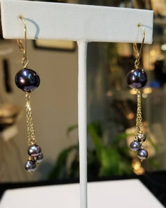 Shooting Star Pearl Earrings 14K