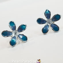 Load image into Gallery viewer, Blue Flower Earring Settings