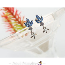 Load image into Gallery viewer, Blue Leaf CZ Earring Settings