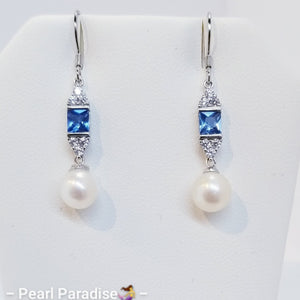 Square Blue CZ Akoya Pearl Earrings