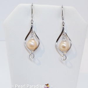 Twist Drop Akoya Pearl Earrings