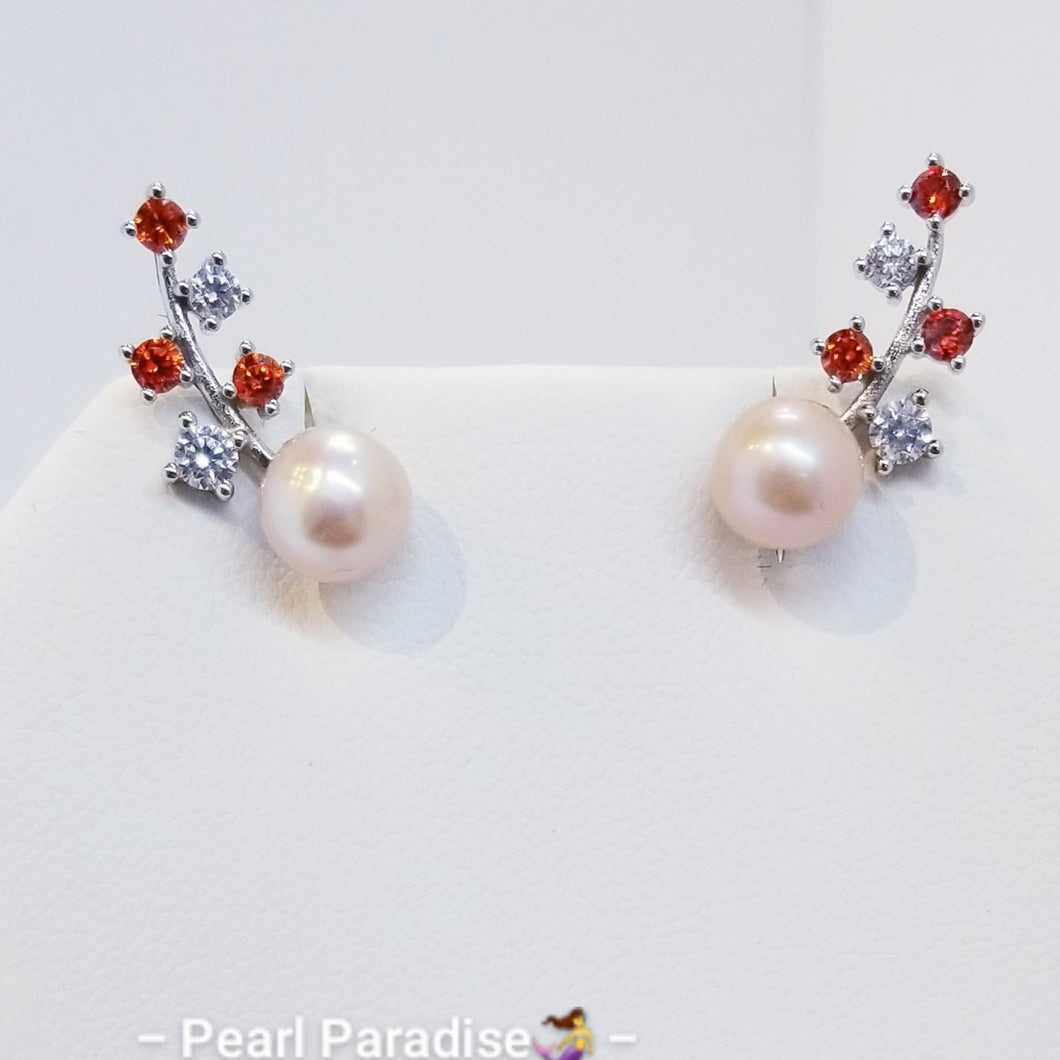 Red Zirconia Akoya Pearl Earrings