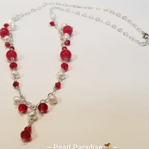 Red Ruby Pearl Set