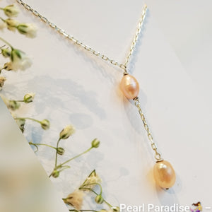Double Drip Pearl Necklace