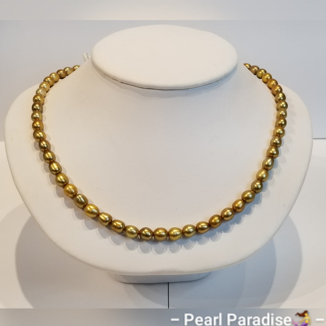 Gold Freshwater Rice Pearl Necklace