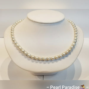 Light Gray Freshwater Rice Pearl Necklace