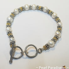 Load image into Gallery viewer, Pearl Bracelet with Silver & Gold Plated Spacers