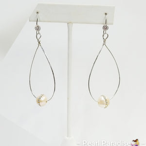 Tear Drop Earring With CZ Pearl
