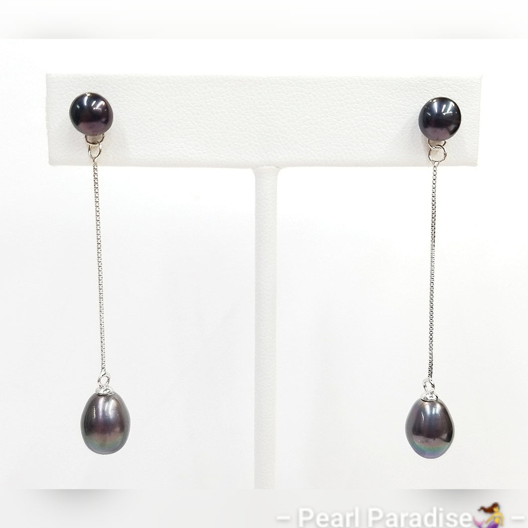 Stud Pearl with Pearl Drop Earrings