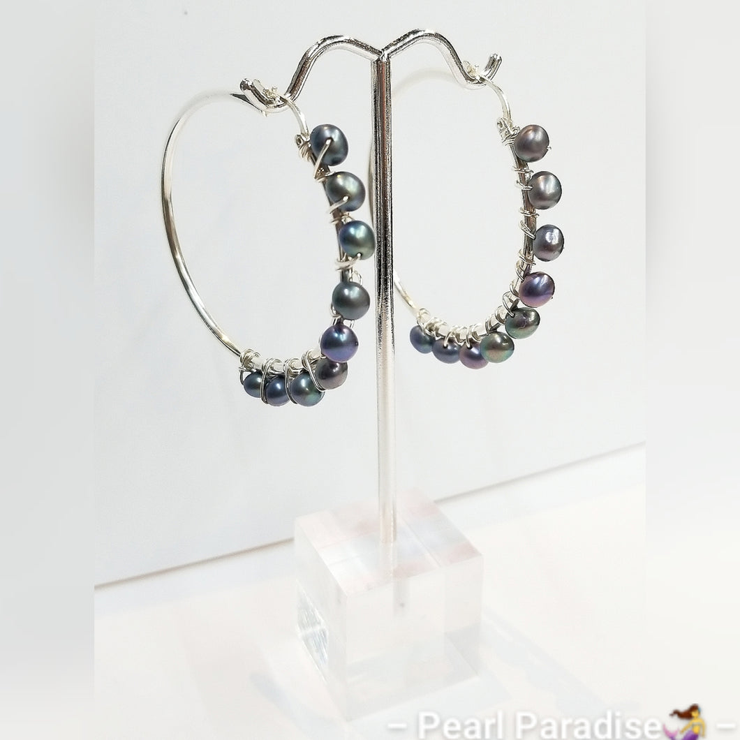 Pearl Wrap Hoop Earrings