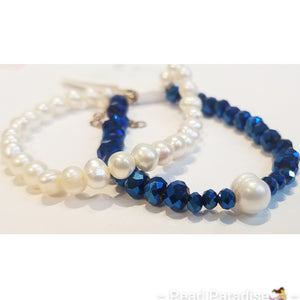Metallic Royal Blue Bead and Pearl Bracelet