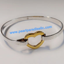 Load image into Gallery viewer, Gold Heart Bangle Bracelet