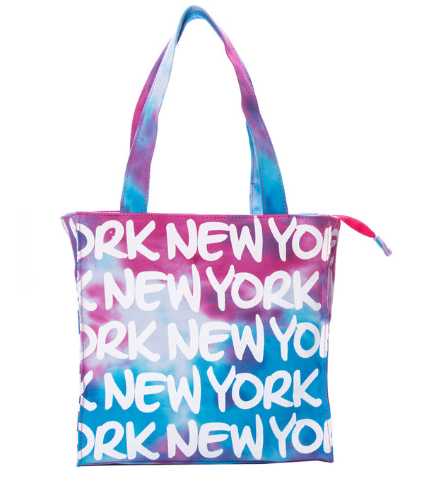 TIE DYE- NY SMALL TOTE PINK & BLUE
