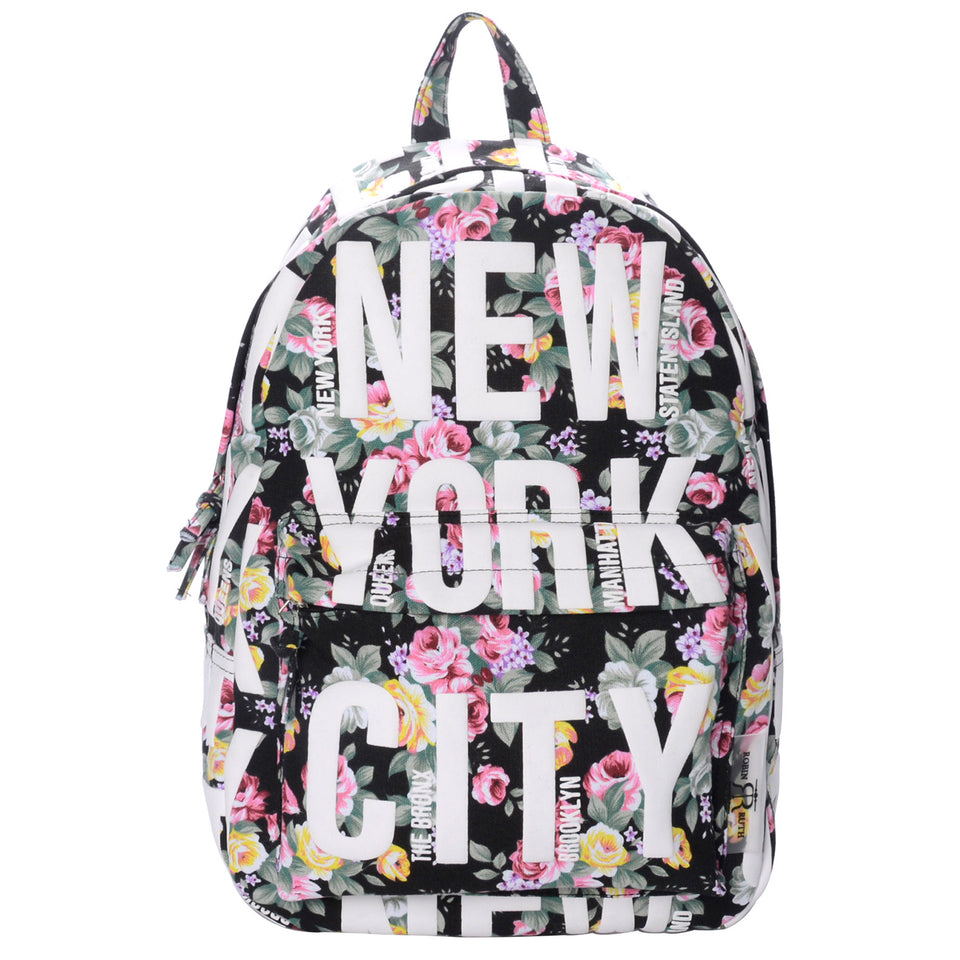 Amanda Collection: New York Backpack – Floral-Black