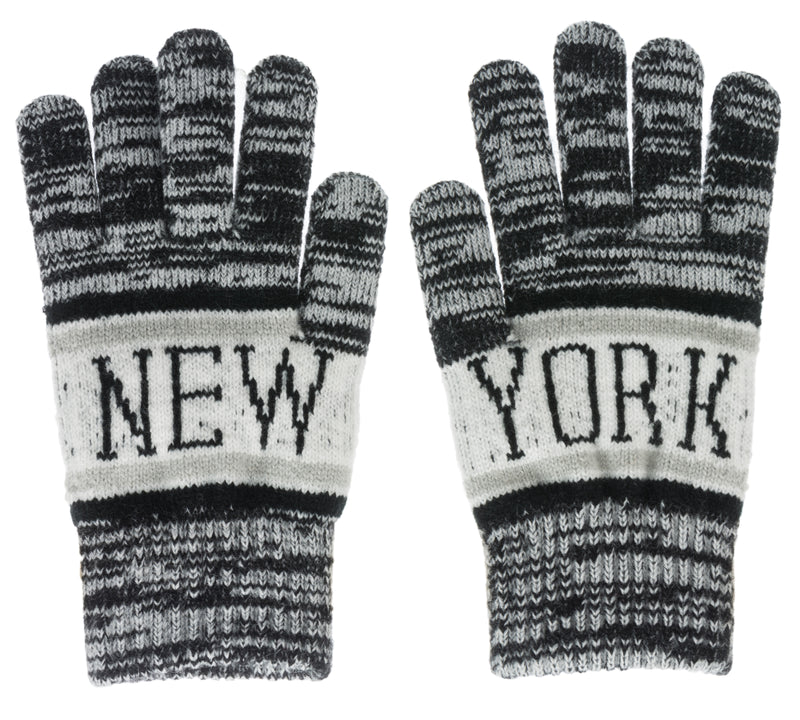 New Classic Winter Gloves- NY Distressed Black & White