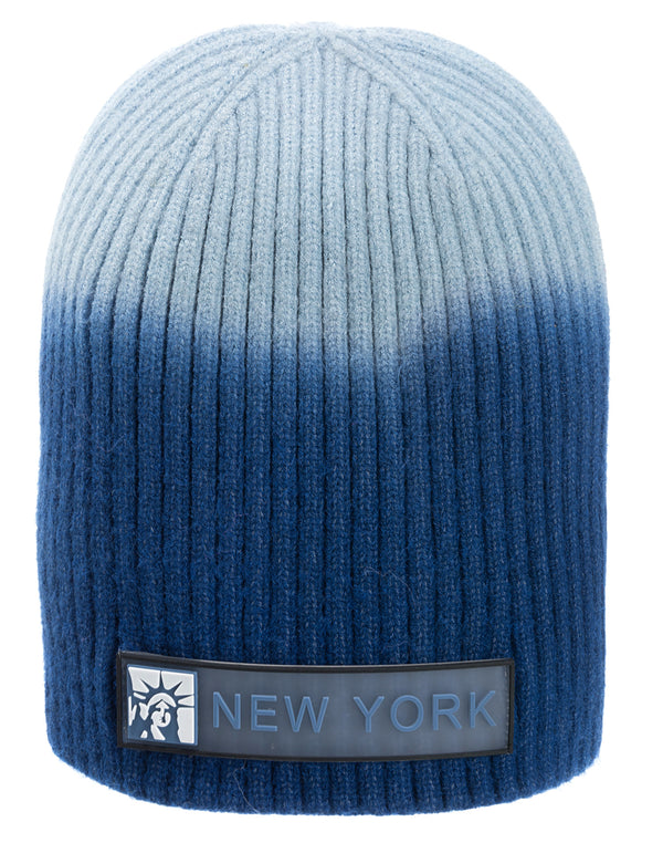 Silicone Band Winter Beanie- NY Statue of Liberty Blue Ombre
