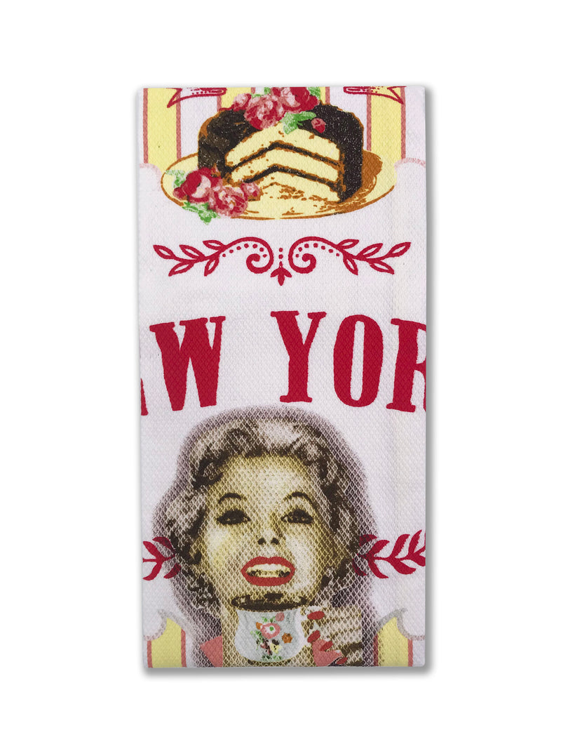 Hook and Hang- NY Vintage Gelato & Cupcake Kitchen Towel Pink