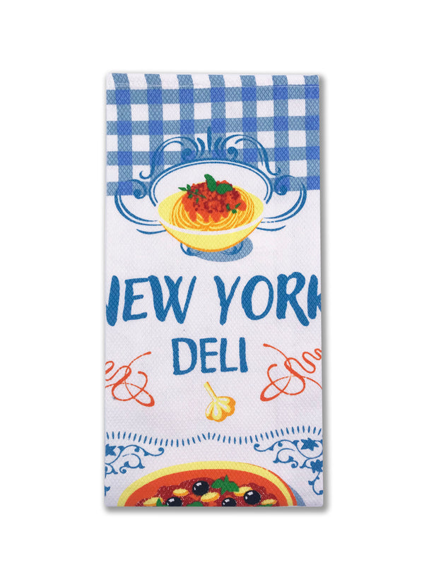 Hook and Hang- NY Pizza Kitchen Towel Blue Plaid