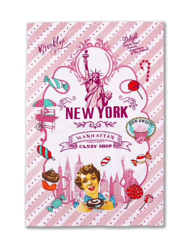 Hook and Hang- NY Sweet Candy Kitchen Towel Pink & Purple