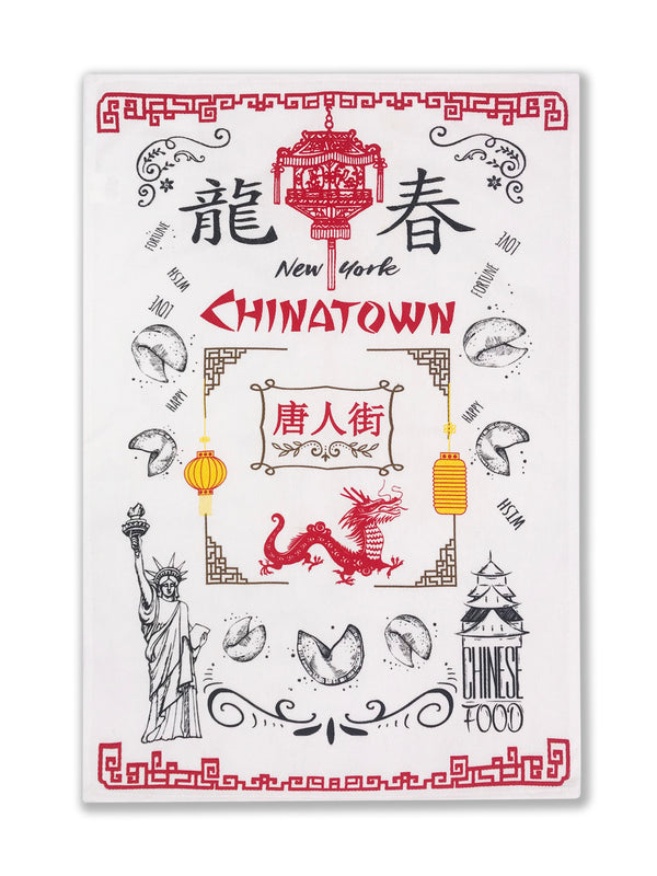 Hook and Hang- NY Chinatown Towel White & Red