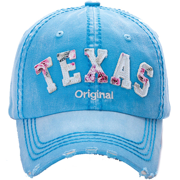DISTRESSED FLOWER PATCH- TEXAS CAP