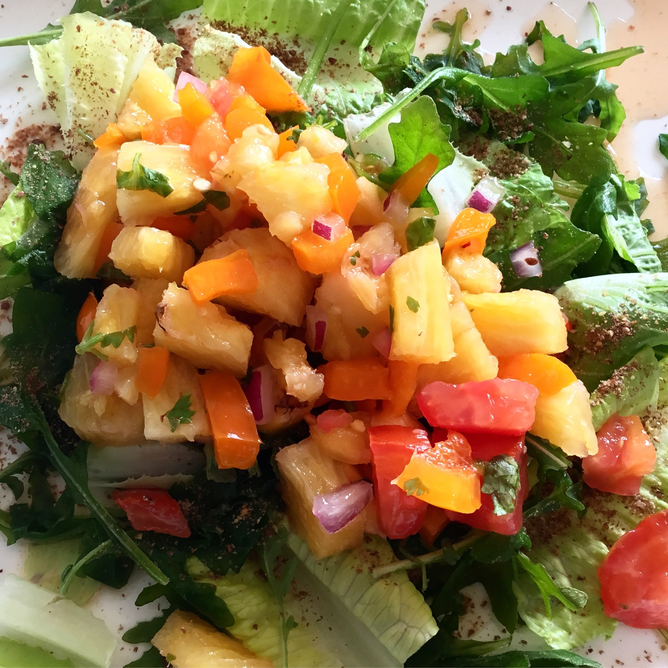 Sprouted Flax with Pineapple Salsa Salad