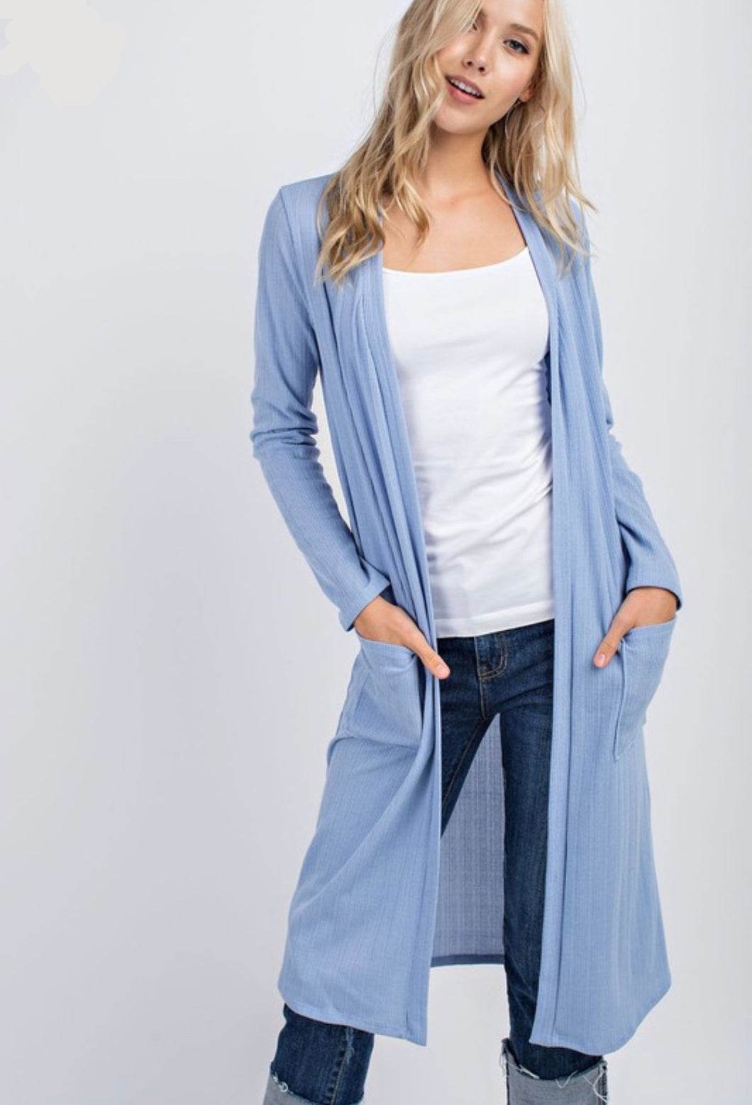 Classic Crepe Long Cardigan (Light Blue)