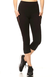 Black Mesh Capri Leggings