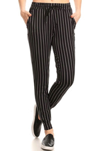 Black Pin Stripe Joggers