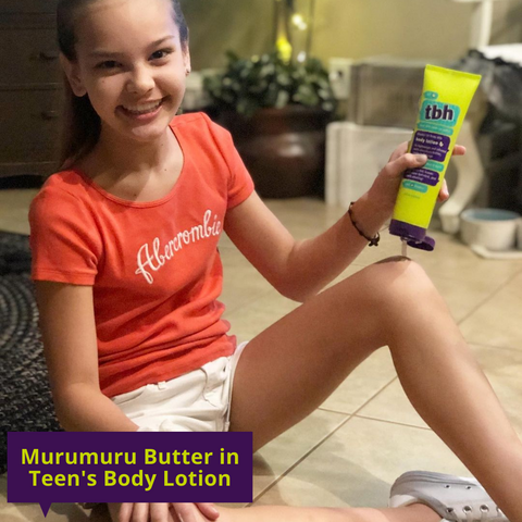 girl with kids lotion