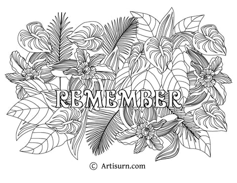 Remember Coloring Page Zentangle Style