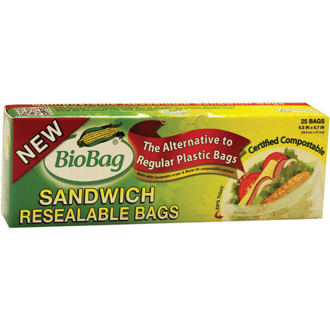 Resealable 6.5 inches by 6.7 inches Compostable and Biodegradable Bag