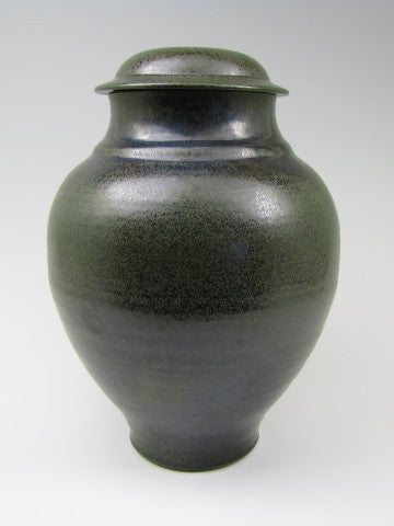 Handmade Classical Style Black and Moss Green Individual Size Ceramic Cremation Urn