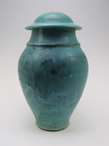 Handmade Classical Style Turquoise Individual Size Ceramic Cremation Urn