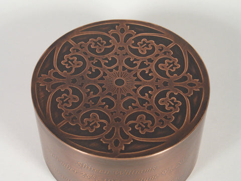 Handcrafted Copper Crown Cremation Urn Lid Close Up