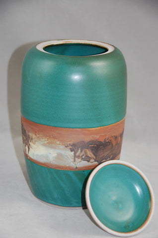 Teal Green Individual Size Hanmde Ceramic Cremation Urn For Ashes