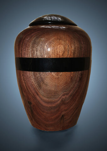 Handmade Black Walnut Funeral Cremation or Burial Wooden Urn for Ashes
