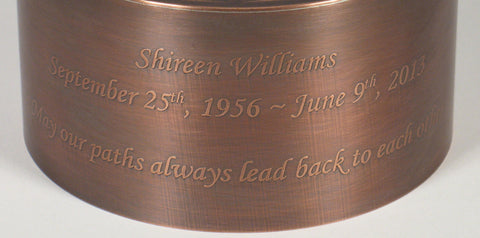 Inscription for Handcrafted Copper Crown Cremation Funeral Urn For Ashes