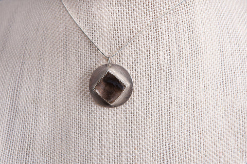 Handmade Modern Memorial Hair Jewelry Silver Pendant With Diamond Shape