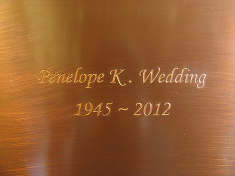 Handcrafted Copper Cremation Urn Inscription Sample