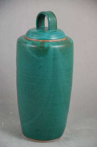Handmade Teal Green Ceramic Cremation Urn For Ashes