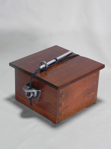 Handmade Wooden Chest Pet or Sharing Urn With Hand Cast Fine Pewter Side Brackets