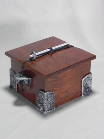 Handmade Wooden Chest Pet or Sharing Urn With Hand Cast Fine Pewter Side Brackets and Corners