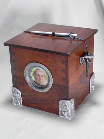 Handmade Wooden Chest Individual Size Funeral Urn With Hand Cast Fine Pewter Side Brackets, Corners and Picture Frame
