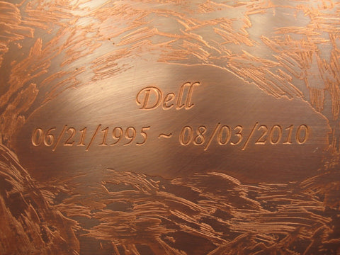 Handcrafted Oval Copper Cremation Urn Inscription Sample