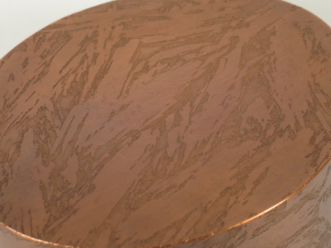 Handcrafted Oval Copper Cremation Urn Top View